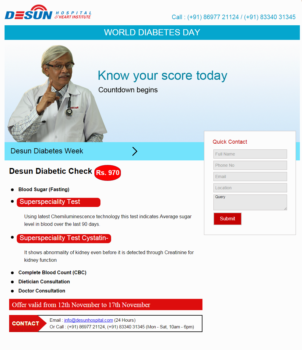 Desun Diabetes Week Special Check Up Package